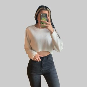 F21 white ribbed crop top
